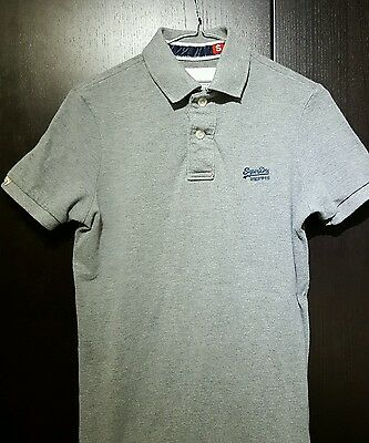 SUPERDRY POLO Grey - Small Mens Slim Cut Collar Pique Polo Light Grit Grindle S