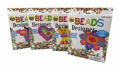 Fuse Beads Designer Ironing Paper Craft Kit Assorted  Designs - 4 In A Pack