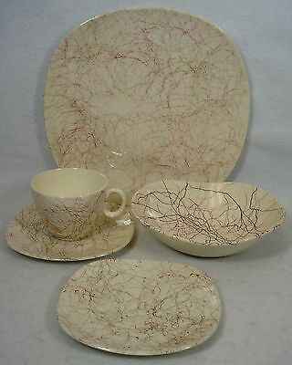 KNOWLES china PINK THREADS K1005 pattern 5-pc PLACE SETTING