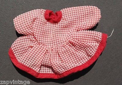 Vintage 1940's Small REd & White Checkered Dress Doll Play Clothes / Clothing