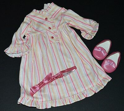 Kit Striped Nightie! American Girl Doll~Retired! Nightgown~Headband~Slippers!