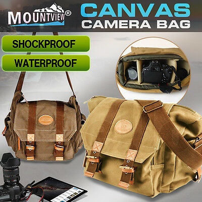 MOUNTVIEW Canvas DSLR SLR Camera Shoulder Messenger Case Bag For Canon Nikon