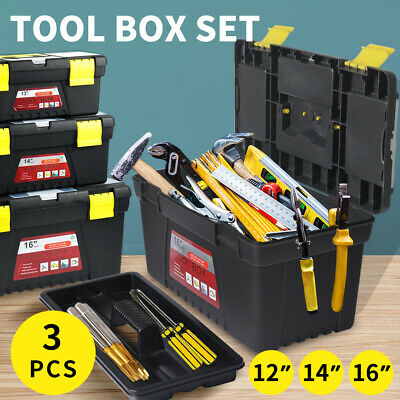 3 Piece Tool Box Set With Organiser Trays Chest Diy Toolbox Case Storage