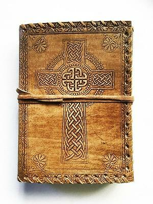 Celtic Cross Leather Journal Book Of Shadows Blank Pages
