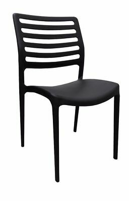Outdoor CHAIR Stackable Restaurant Cafe Seat UV Dining Chairs Louise Black