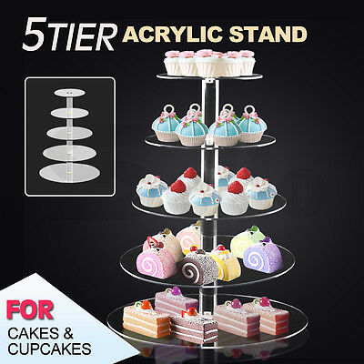 5 Tier Clear Acrylic Maypole Round Cupcake Cake Stand Wedding Birthday Party New