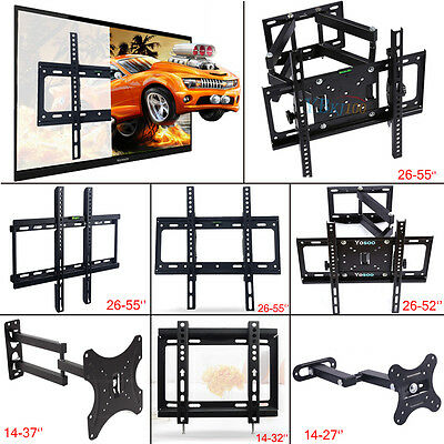 "New Black 3D LCD LED TV Wall Bracket Mount Tilt & Swivel Home 14- 55"" 7Model AU"