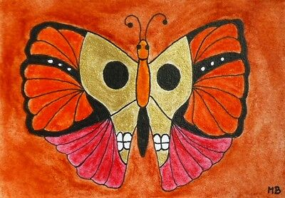 Butterfly aceo day of the dead sugar skull gold original OOAK miniature painting