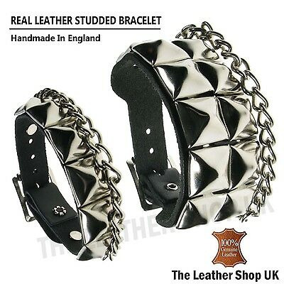 Gothic Pyramid Studded 100/% Real Leather Wrap Round Cuff Bracelet Made In UK