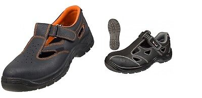 Safety Perforated Sandal Work Shoes Boots  Workwear Black