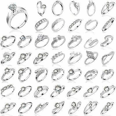 Fashion Women White Gold CZ Sterling Silver Rings Crystal Wedding Engagement New