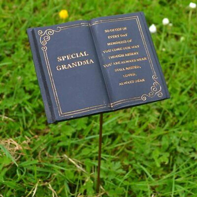Special Grandma Memorial Black Book Tribute Stick with Message Grave Graveside P