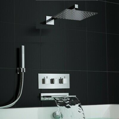 TMV3 Concealed Square Waterfall Thermostatic Bath Shower Mixer Set