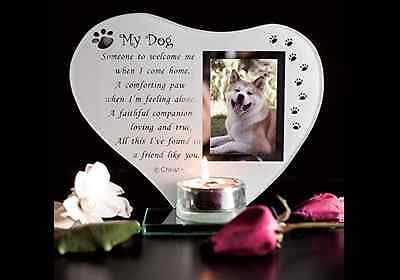 Dog Glass Memorial Plaque my Pet Grave Ornament with Poem candle photo holder