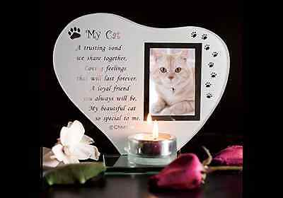 Kitty Keepsake Grave Memorial Glass Ornament Cat Plaque Poem Candle Photo holder