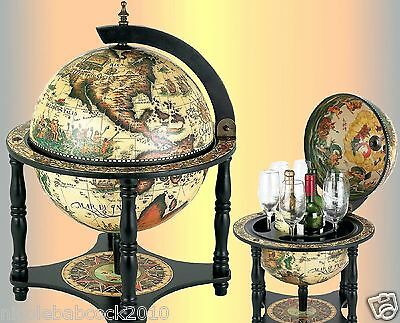 White Italian Globe Of 16Th Century Of Spirits Or Liquor Shelf Table