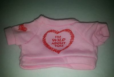 "XS XSmall ""I'm wild about you"" Valentines Day Teddy Bear / doll Tshirt Clothing"