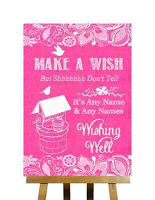 Bright Pink Burlap & Lace Effect Wishing Well Message Personalised Wedding Sign