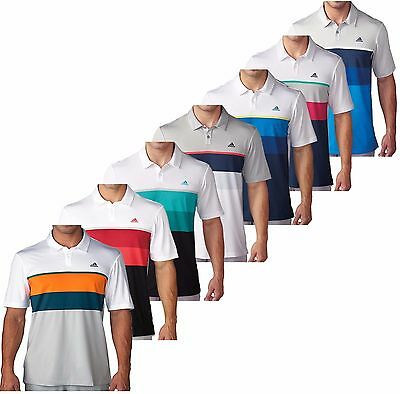 Adidas Golf Mens ClimaCool Engineered Striped Golf Polo Shirt New 2016