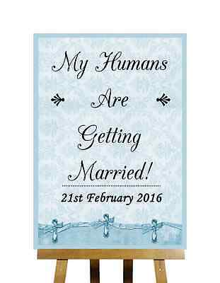 Blue Shabby Chic Save The Date Humans Getting Married Personalised Wedding Sign