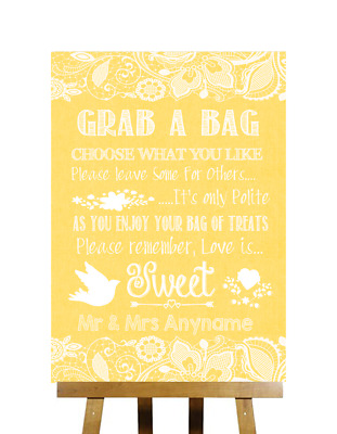 Yellow Burlap & Lace Effect Candy Buffet Cart Sweets Personalised Wedding Sign