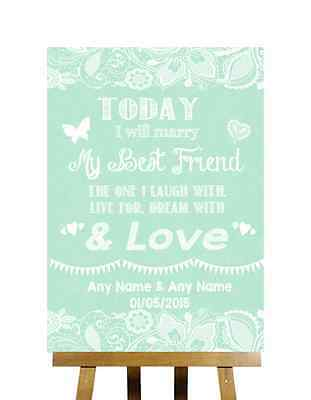 Green Burlap & Lace Effect Today Marry Best Friend Personalised Wedding Sign