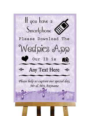 Lilac Shabby Chic Vintage Wedpics App Personalised Wedding Sign Poster