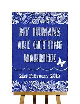 Navy Blue Burlap Lace My Humans Are Getting Married Personalised Wedding Sign