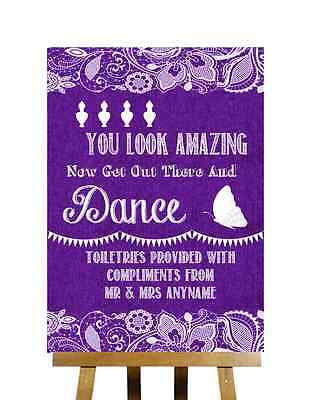 Purple Burlap Lace Effect Toiletries You Look Amazing Personalised Wedding Sign