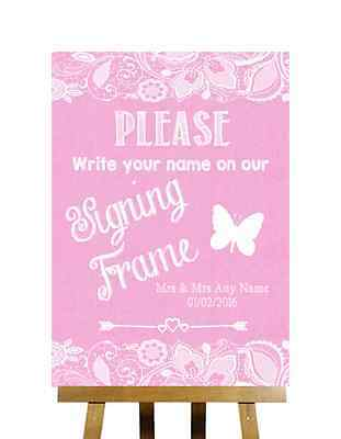 Pink Burlap Lace Signing Frame Guestbook Message Personalised Wedding Sign