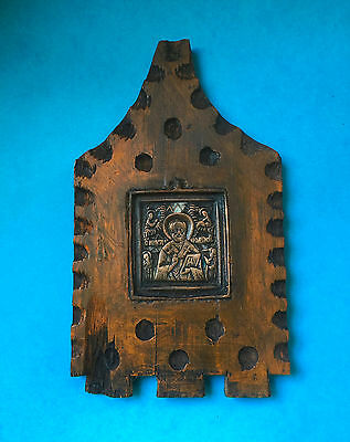 Antique Russian Stavroteca Brass Icon Saint Nicholas