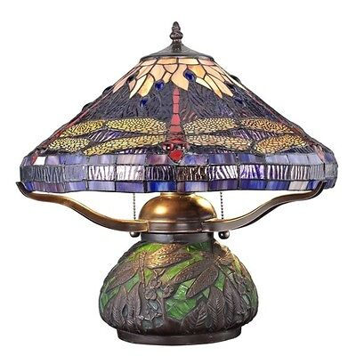 Tiffany Style Dragonfly Lamp Cut Stained Glass Reading Table Desk Mosaic Base