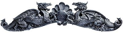 "35.5"" 18th century architectural dual gothic dragon pediment wall door sculpture"