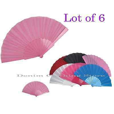 6pcs Handheld Hand Fabric Folding Fan Outdoor Dancing Bridals Wedding Party Lots