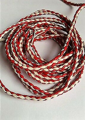 New Genuine Leather 2 Color Braided Bolo Cord For Vest Red/white (Set)