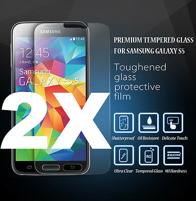 2x GENUINE Premium Tempered Glass Screen Protector For Samsung Galaxy S5