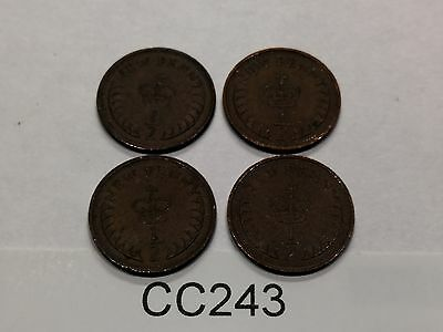 Queen Elizabeth II Half Penny Coin Selection, 1971 x 2, 1973 x 2 CC243