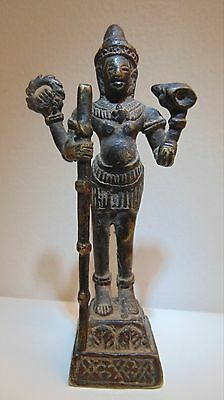 Early 20th C. Signed Cambodian Hindu God Vishnu, Khmer, Bayon Style Bronze
