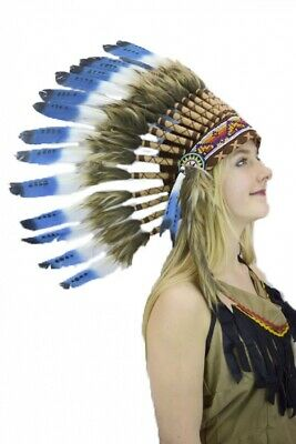 Indian Feather Headdress Quality Blue Tip Native American Chief War Bonnet