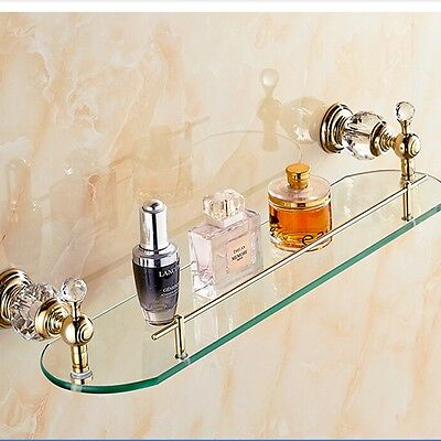 Golden Wall Mounted Bathroom Shelf Glass Tier Storage Holder Crystal Hanger