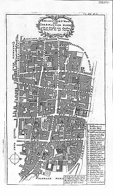 Antique maps, Bread Street Ward and Cordwainer Ward