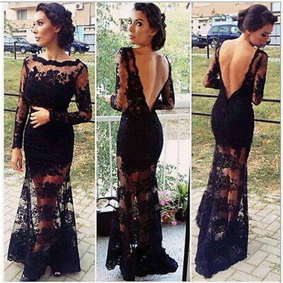 Sexy Lace Chiffon Backless Evening Formal Party Cocktail Long Dress Prom Gown L@