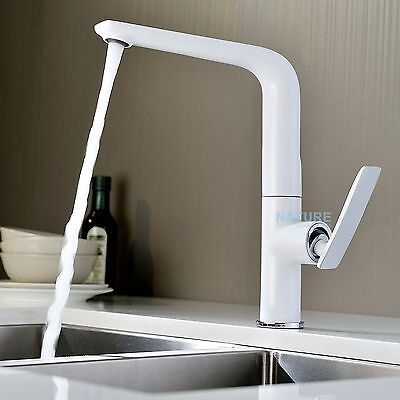 WELS NEW White Square Swivel Kitchen Sink Mixer Laundry Basin Brass Faucet Tap