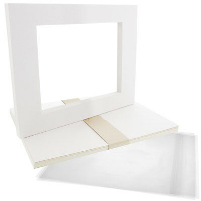 "10 11""x14"" White Picture Mat Set White Core Bevel 8""x10"" Photos Backers & Bags"