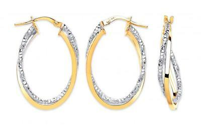 9Ct Hallmarked Yellow & Textured White Gold 28Mm Oval Twist Hoop Earrings
