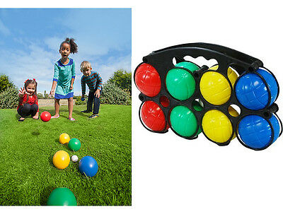 Children 8 Plastic Petanque French Boules Jack Carry Case Outdoor Toy Game Set