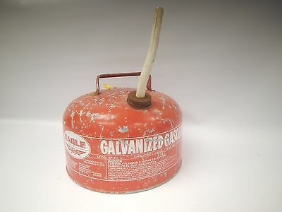 Vintage Eagle Galvanized 2 1/4 Gallon Gas Can w/ Spout Metal Model SP 2 1/2 Old
