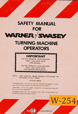 Warner & Swasey Safety, Turning Machine Operators Manual 1984