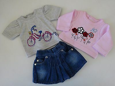 """NEW-DOLL CLOTHES -Denim Skirt & 2 Tops fit 18"""" Doll such as AG Dolls-Lot #247"""