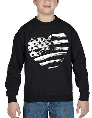 American Flag White Heart Youth Crewneck USA Pride Flag Patriotism Sweatshirts